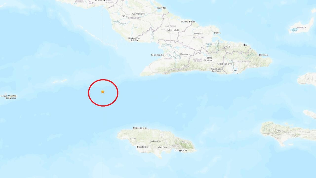 Where the earthquake hit between Cuba and Jamaica.
