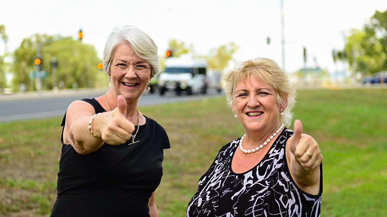 STEPPING BACK: Rockhampton Region mayor Margaret Strelow - pictured here giving the thumbs up with Capricornia MP Michelle Landry after securing federal funds for the South Rockhampton Flood Levee last year - will distance herself from the decision making process for the project.