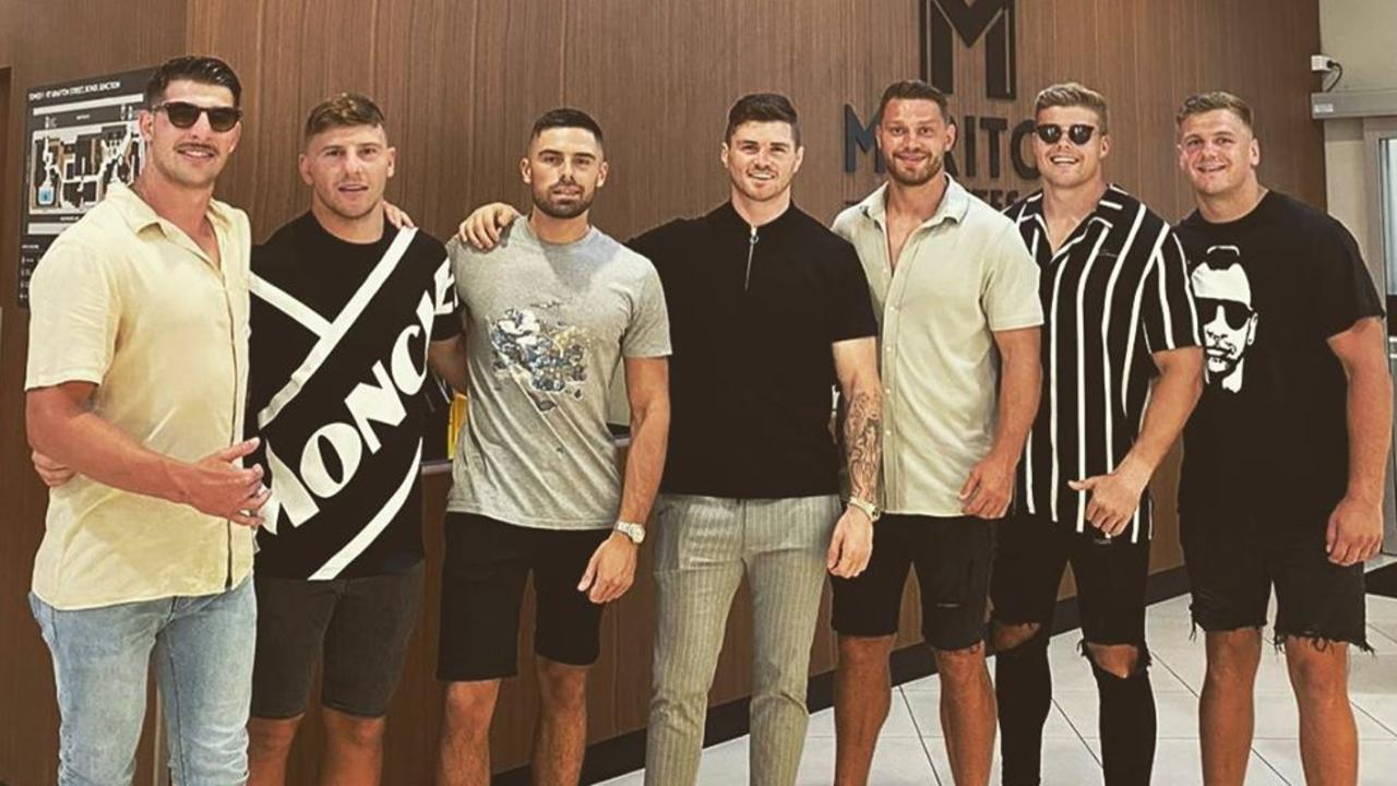 Curtis Scott was with Raiders teammates John Bateman, Sam Humphries, George Williams, Elliott Whitehead, Jack Murchie and Ryan Sutton in Sydney for the Australia Day weekend. Picture: Instagram.
