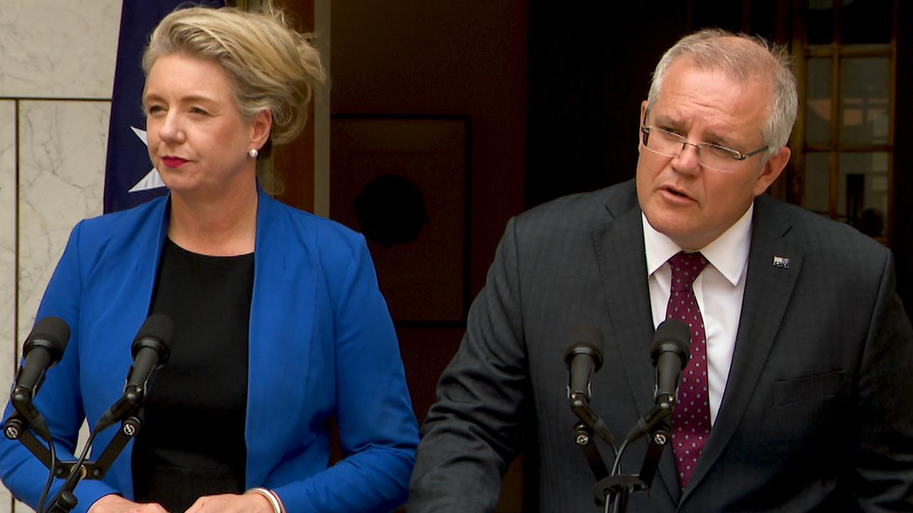 Minister for Agriculture Bridget McKenzie and Prime Minister Scott Morrison. Picture: Marc Tewksbury/AAP