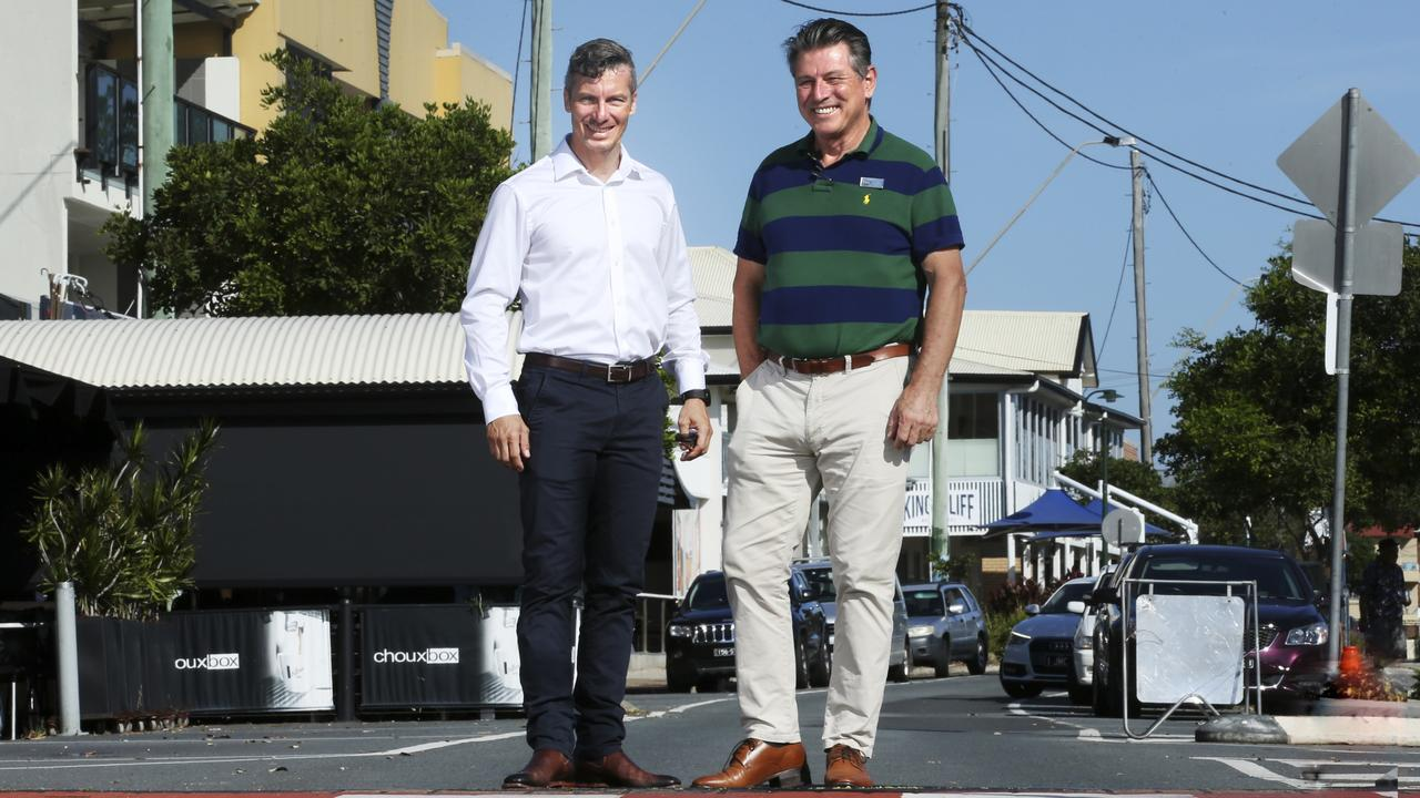 Kingscliff Chamber of Commerce president James Owen and LJ Hooker Kingscliff owner Paul McMahon are confident the 2020 Country Surf Life Saving Championships will bring money into town. PHOTO: SCOTT POWICK