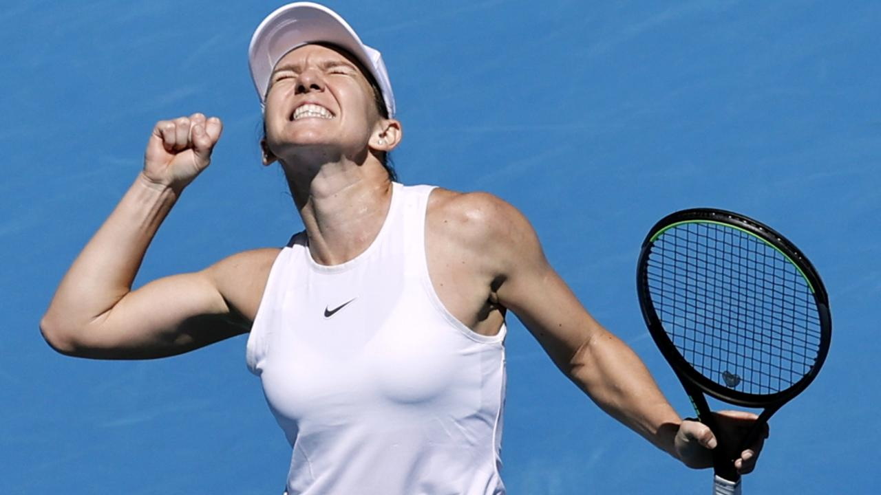 Simona Halep shows the ecstasy of victory after her easy win over Anett Kontaveit. Picture: AP