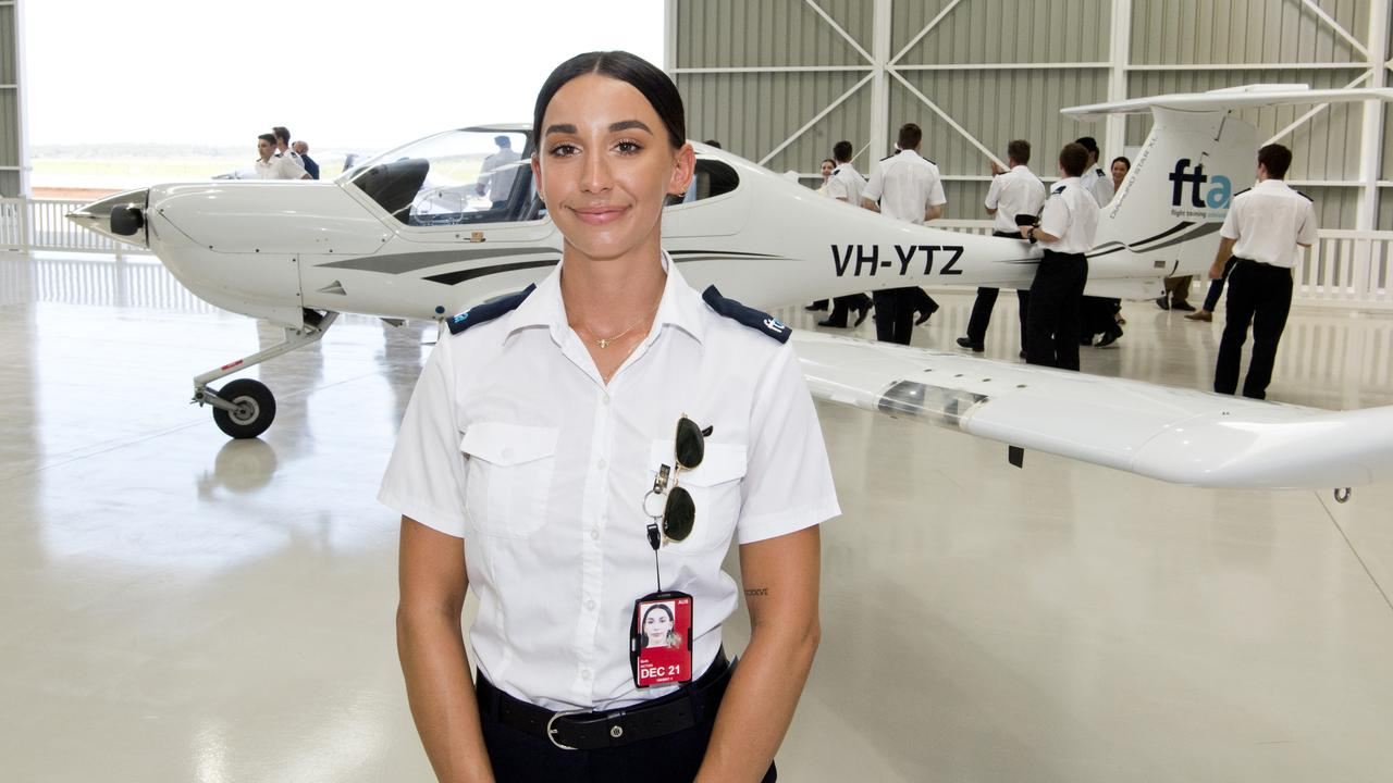 Student pilot Beth Acton at the official opening off the Qantas Group Pilot Academy at Wellcamp Airport. Picture: Nev Madsen.