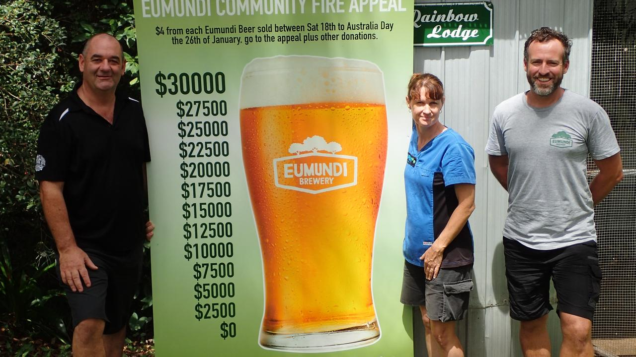 COMMUNITY EFFORT: The Imperial Hotel's Paul Thomas, Eumundi's Wildlife Rehabilitation Centre's Vicky Toomey and Eumundi Brewery's Chris Sheehan after a mammoth $31,540 was raised for wildlife rescue and fire services.