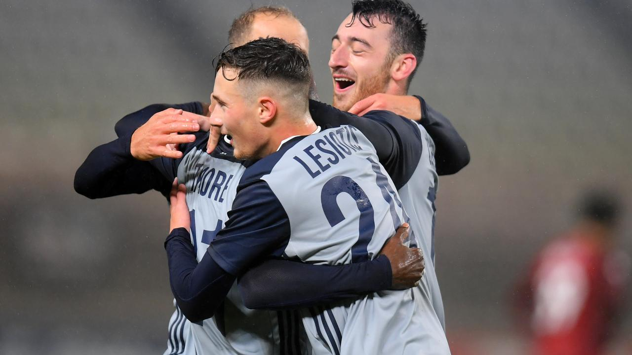 KASHIMA, JAPAN - JANUARY 28: Melbourne Victory players celebrate their victory in the AFC Champions League play-off between Kashima Antlers and Melbourne Victory at Kashima Soccer Stadium on January 28, 2020 in Kashima, Ibaraki, Japan. (Photo by Atsushi Tomura/Getty Images)