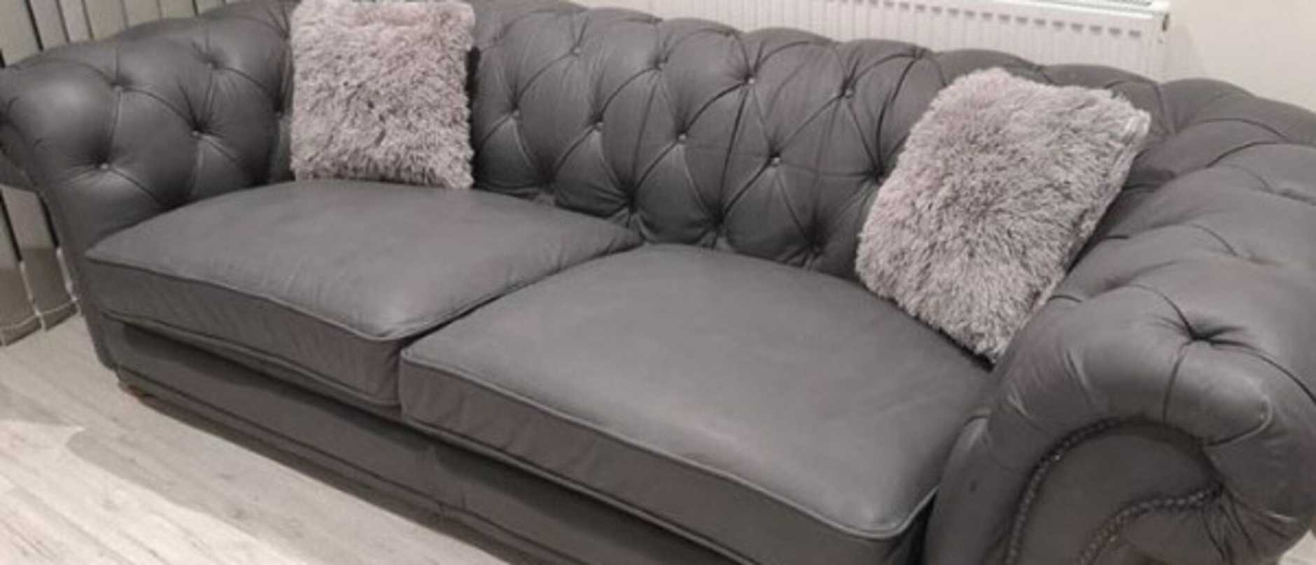 The couch, after its transformation, not only looks great but also worked with the home's interior. Picture: Facebook/DIY on a budget