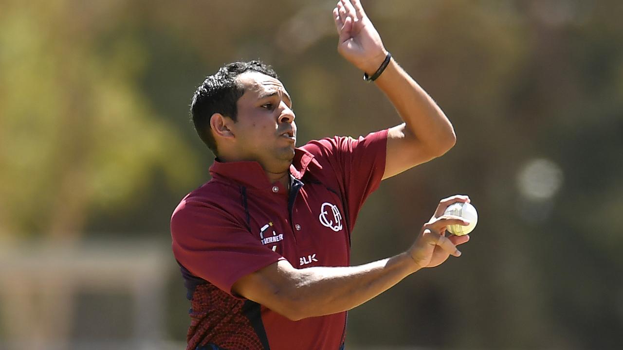 Daley Martin of Queensland bowls in the men's match between Queensland and Victoria. Photo: Albert Perez - CA/Cricket Australia via Getty Images)