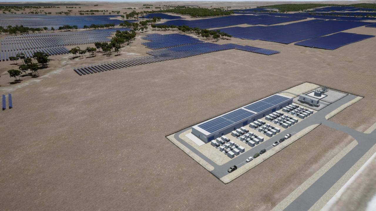 An artist's impression of what the battery energy storage system will look like when it is built in Wandoan. The system is a partnership between Vera Energy Australia and AGL, and will power up to 57,000 homes when it is built.