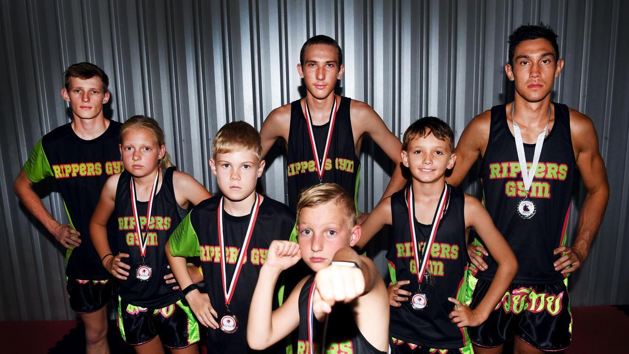 Muay Thai Medal Winners - (L) (Back) Callan Lloyd, Jai Schoonderwoerd and Peter De Groot. (L) (Middle) Paiten Rainbow, Daniel Cumner and Graeme Clarke. (Front) Reed Rainbow. Photo: Cody Fox