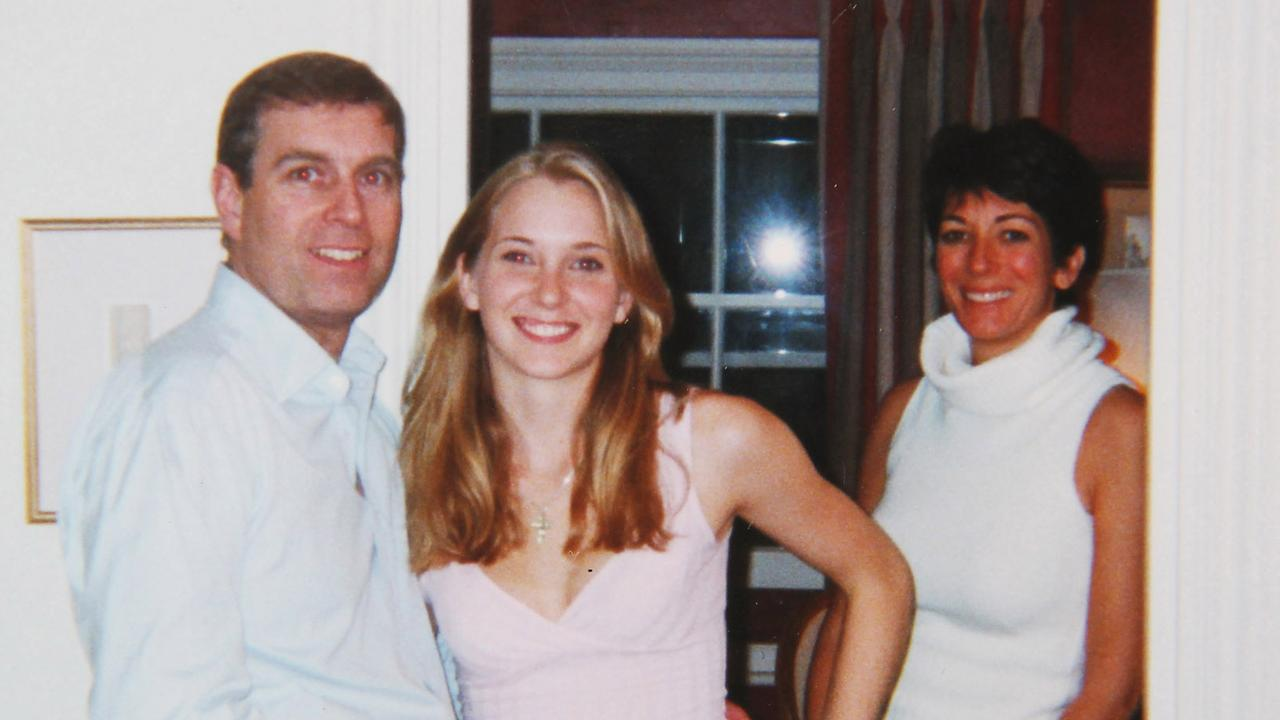 Prince Andrew and Virginia Roberts, aged 17, with Ghislaine Maxwell at her townhouse in London in 2001. Picture: Shutterstock
