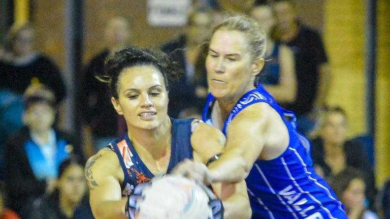 Yaralla Falcon's Amy Harte in a battle with Valleys Star's Tracey Calis.