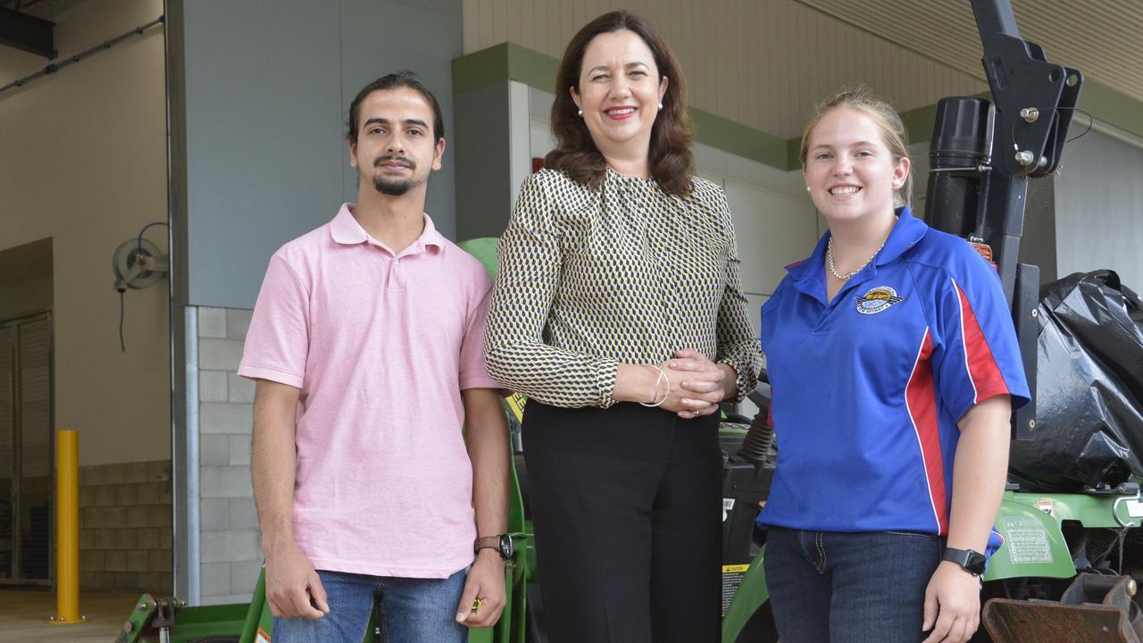 TAFE student Santosh Parajuli, Premier Annastacia Palaszczuk, and student Tracey Denning.