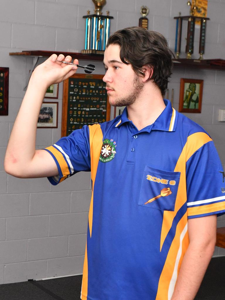 Zahn Hellmuth, 16, placed second in the Queensland Darts Junior State Championships in Brisbane last weekend, qualifying him for the Queensland team.