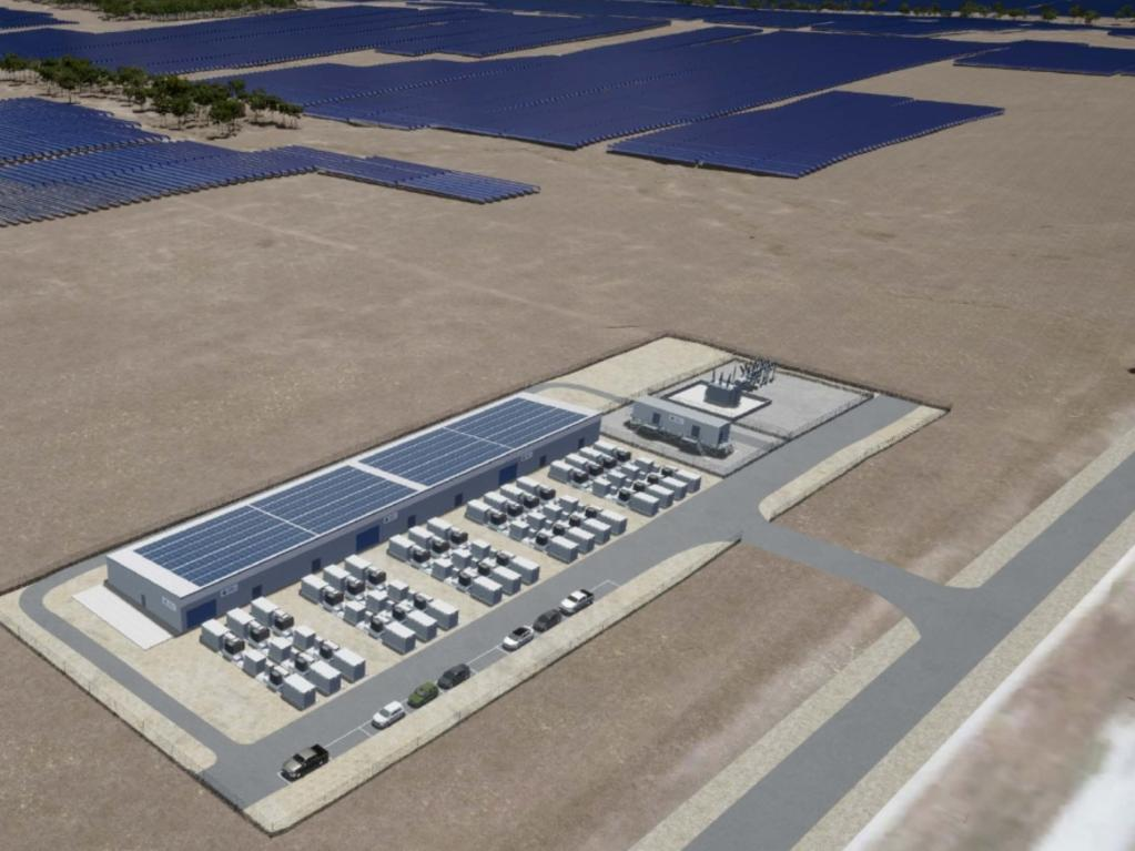 An artist's impression of what the battery energy storage system will look like when it is build in Wandoan. The system is a partnership between Vera Energy Australia and AGL, and will power up to 57,000 homes when it is built.