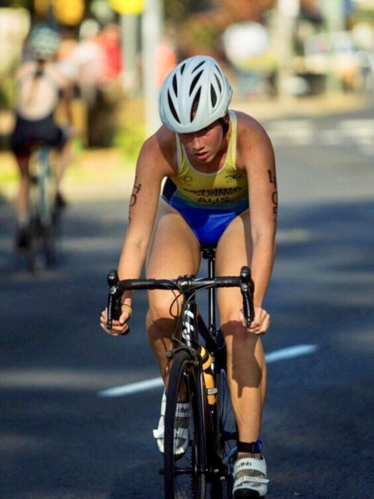 DIGGING DEEP: Paige O'Connor working hard at the Hervey Bay Triathlon intermediate class. Picture: Contributed