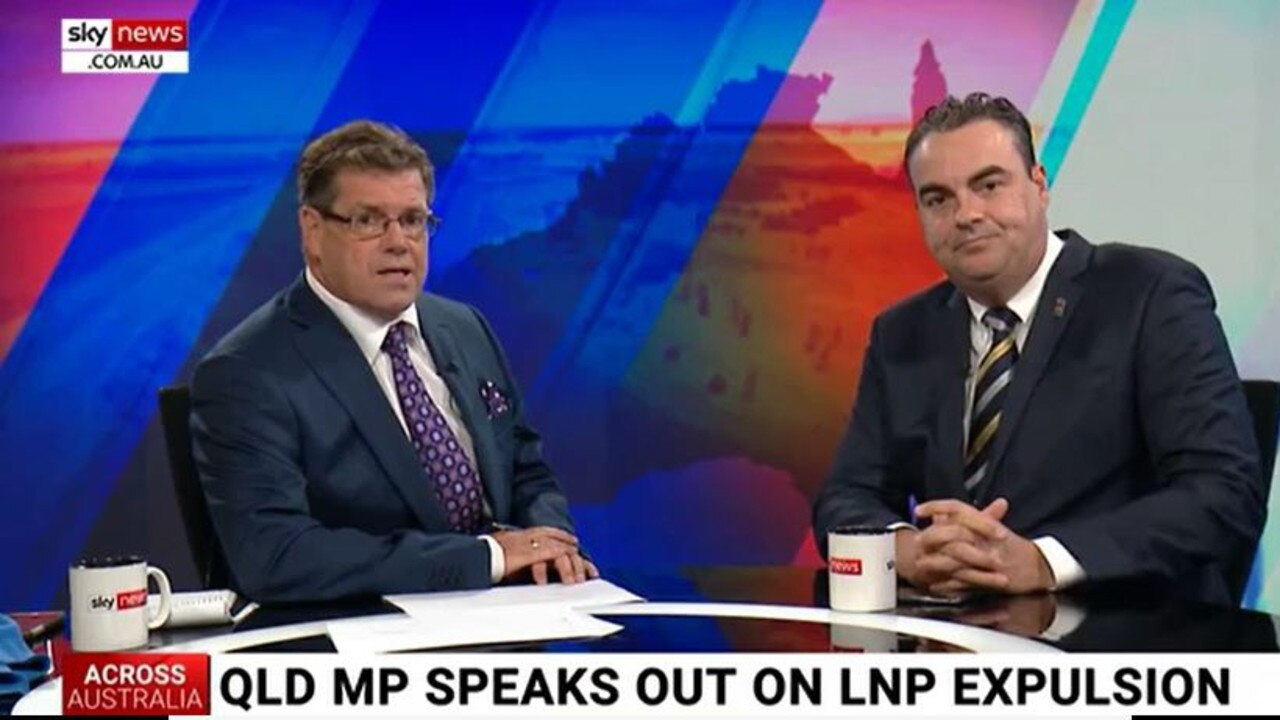 Sky News commentator Peter Gleeson with Whitsunday MP Jason Costigan, right.