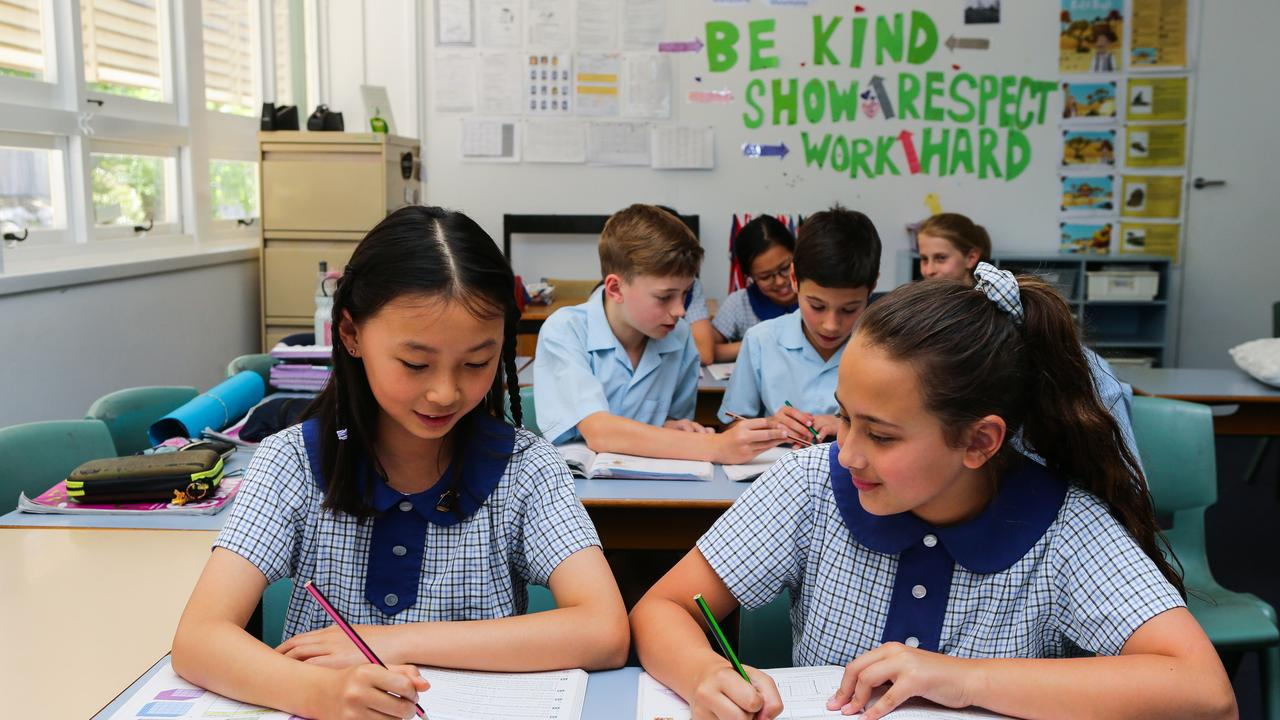 SYDNEY, AUSTRALIA - November 15: Jessica Zhu and Layla Seiffert in the classroom at Hornsby North Public School in Sydney on November 15th, 2019. Photo by Gaye Gerard/ Daily Telegraph