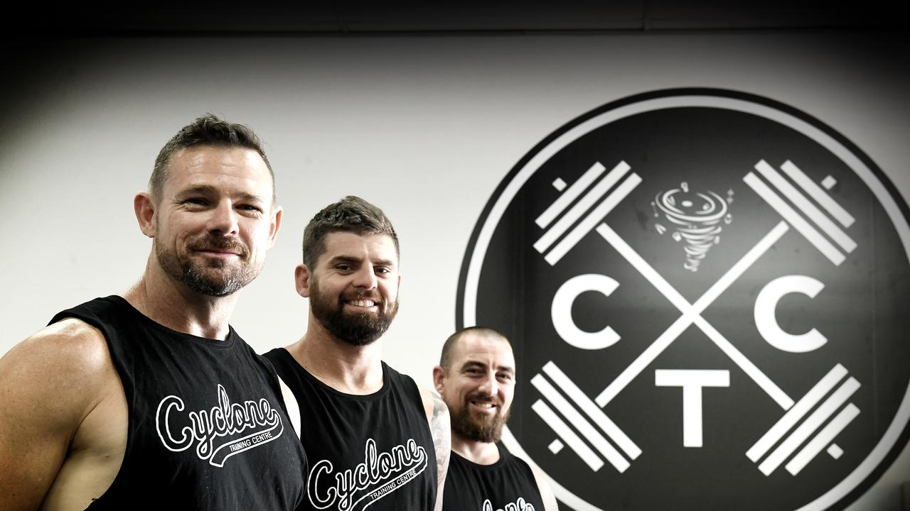 Jason Clarke, Brentin Mumford, and Josh Brown at the new Cyclone Training Centre in Goonellabah that seeks to provide a comfortable space for the community to train at.