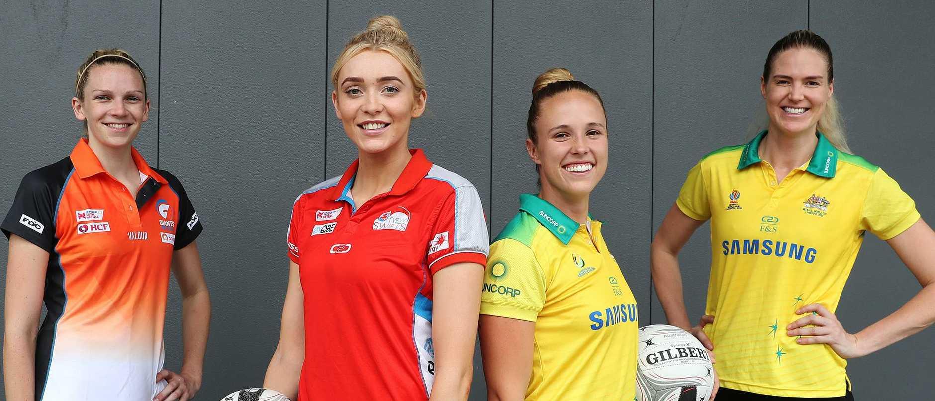 Jo Harten, Helen Housby, Paige Hadley and Caitlin Bassett launch netball's charity game. Photo: Brett Costello