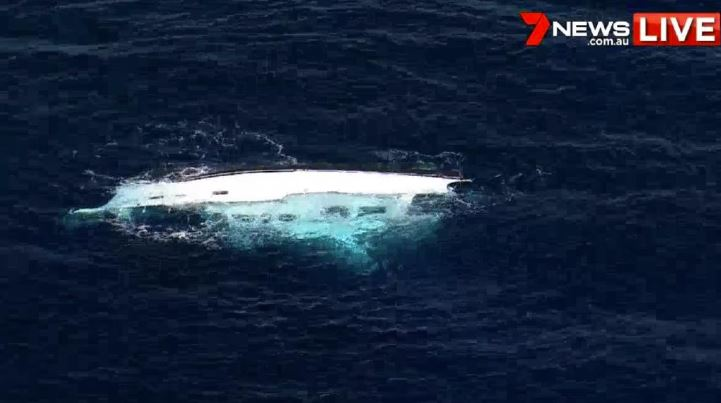 Capsized vessel found near Bronte. Pictures: Channel 7