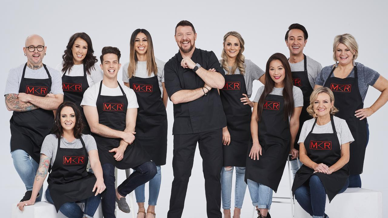 Manu Feildel mentors the house of 'faves' in the new season of My Kitchen Rules. Teams, from left, Dan and Steph, Jake and Elle, Roula and Rachael, Sophie and Romel and Jac and Shaz.