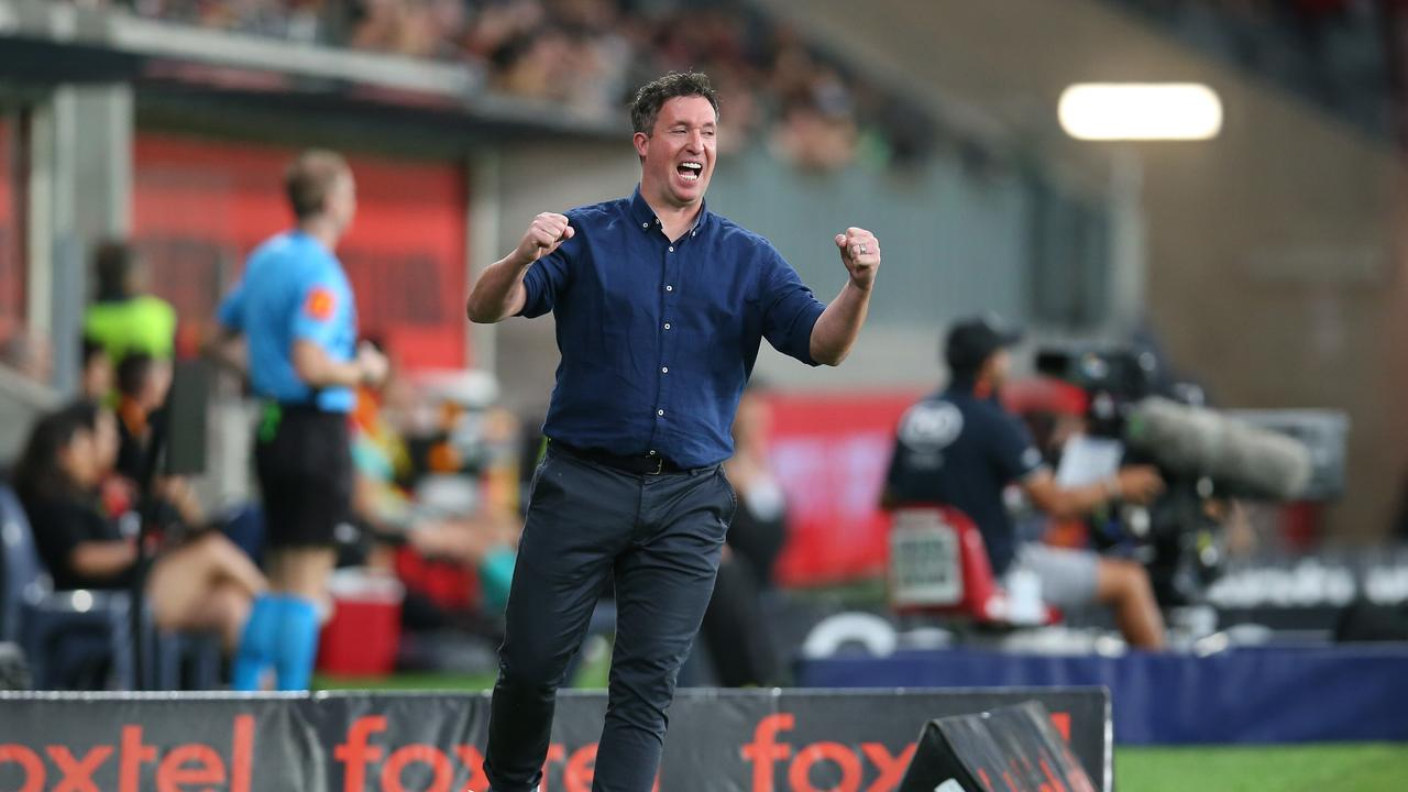 Brisbane Roar coach Robbie Fowler celebrates a goal in his team's Round 13 clash with the Wanderers on January 1 in Sydney. Picture: Jason McCawley/Getty Images