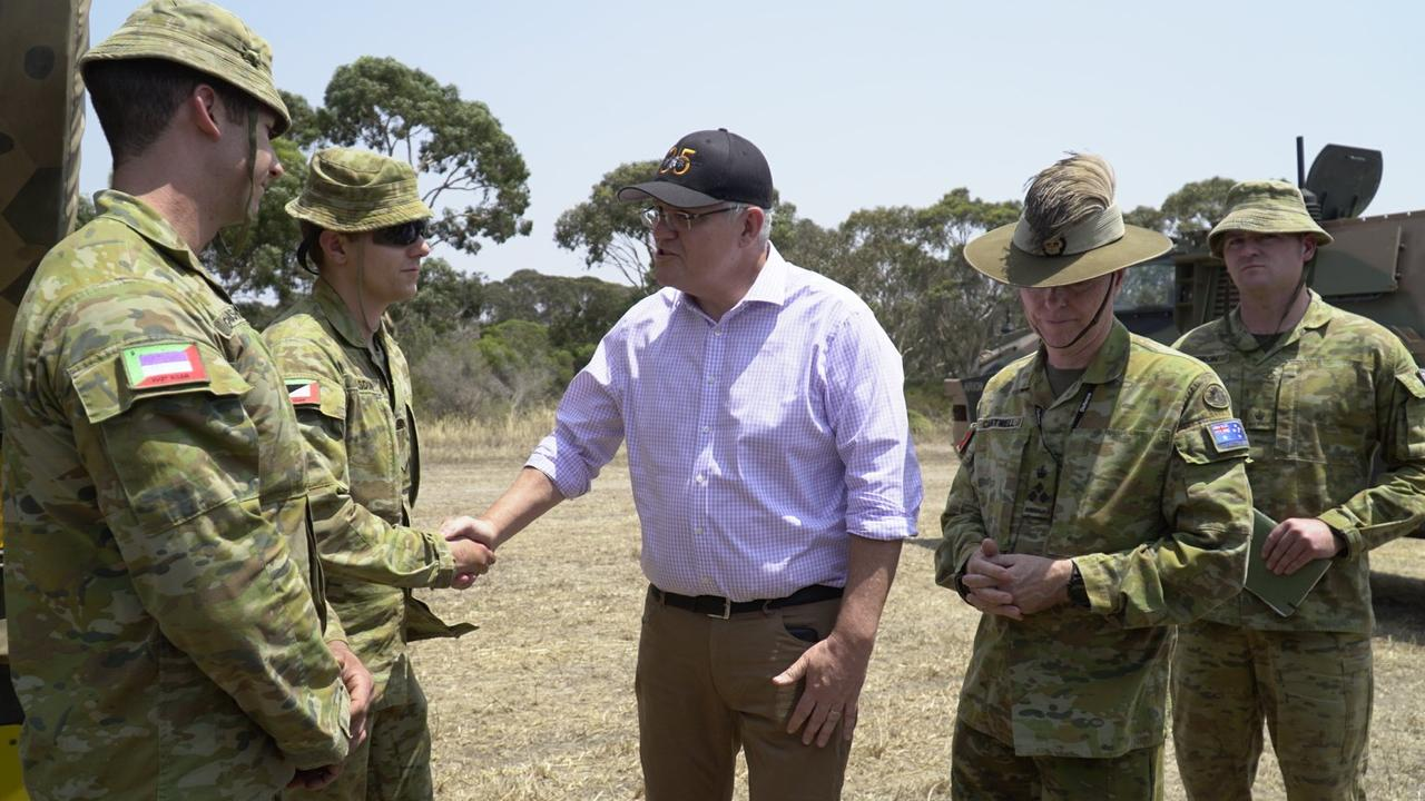 Scott Morrison on Kangaroo Island on January 8, 2020. Picture: Picture: Twitter/Steven Marshall