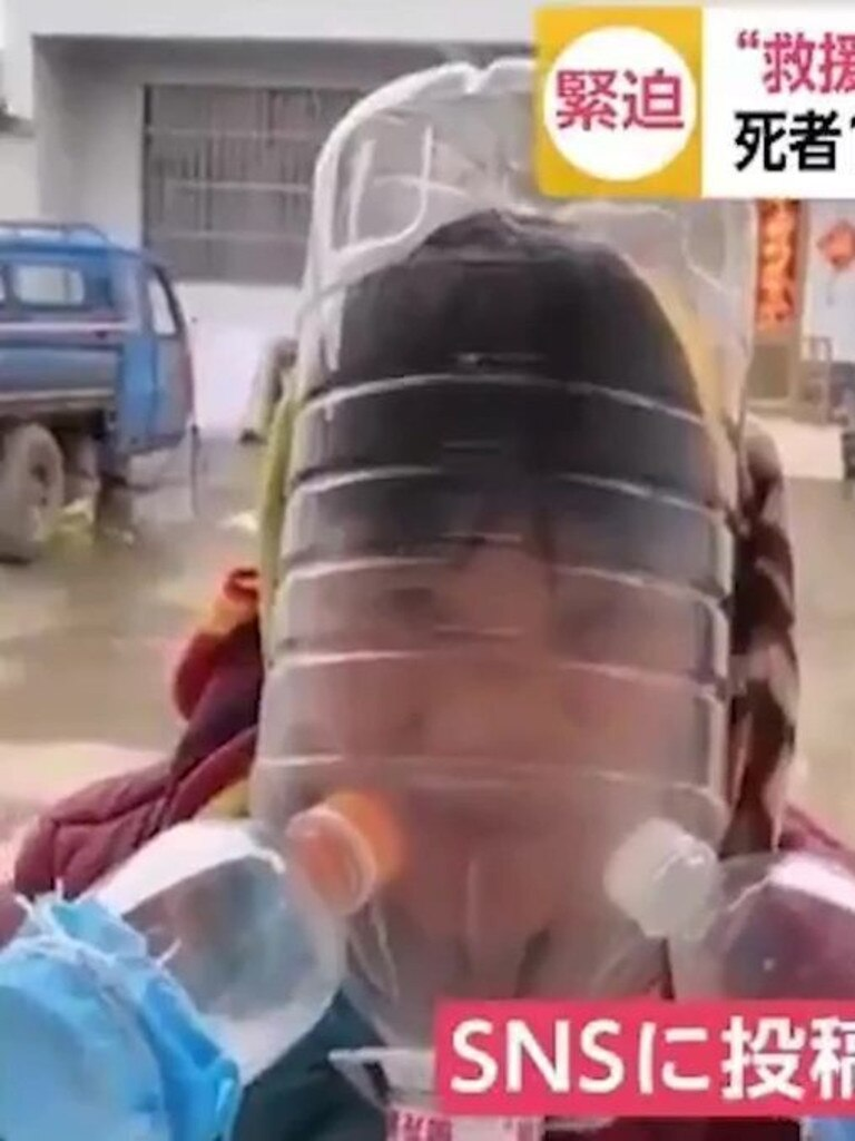 One person made their own gas mask. Picture: Twitter