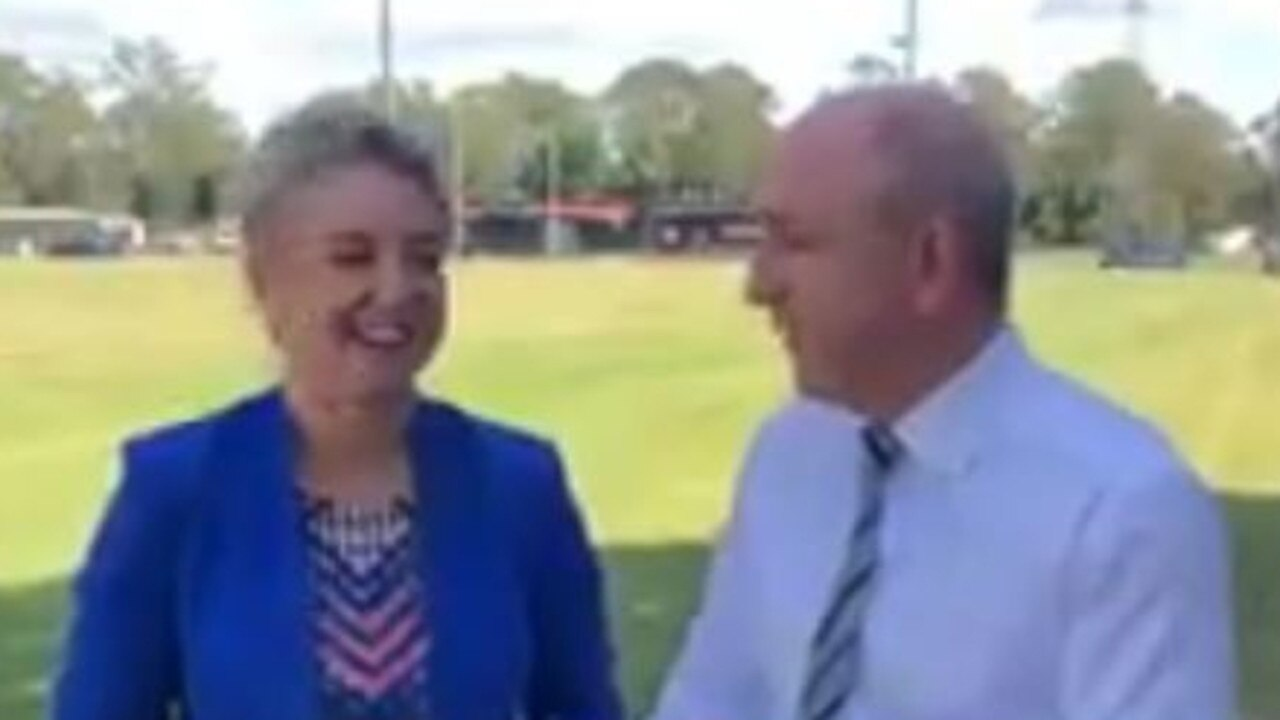 A screen grab of Senator Bridget McKenzie with Luke Howarth announcing funding for the Sandgate Hawks football club in Lilley. Source: Facebook