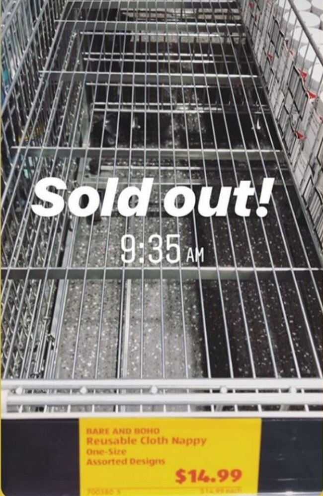 Shoppers complained of the nappies selling out in minutes. Picture: Instagram.