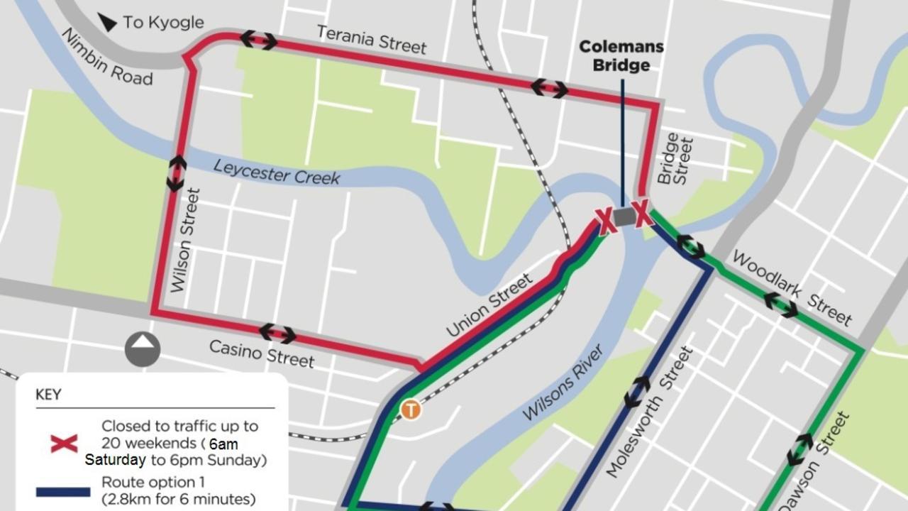 Alternative routes for the Colemans Bridge closure.