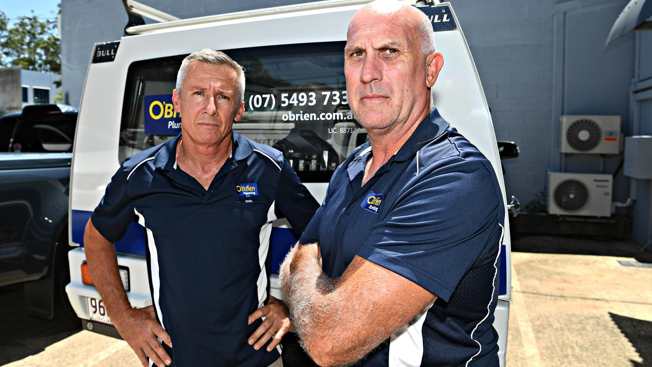 O'Brien Plumbing, Maroochydore owner Peter King (left) and manager Chris Bidmade say the state government needed to introduce project bank accounts quickly to deliver promised payment security to the industry. Photo: Warren Lynam
