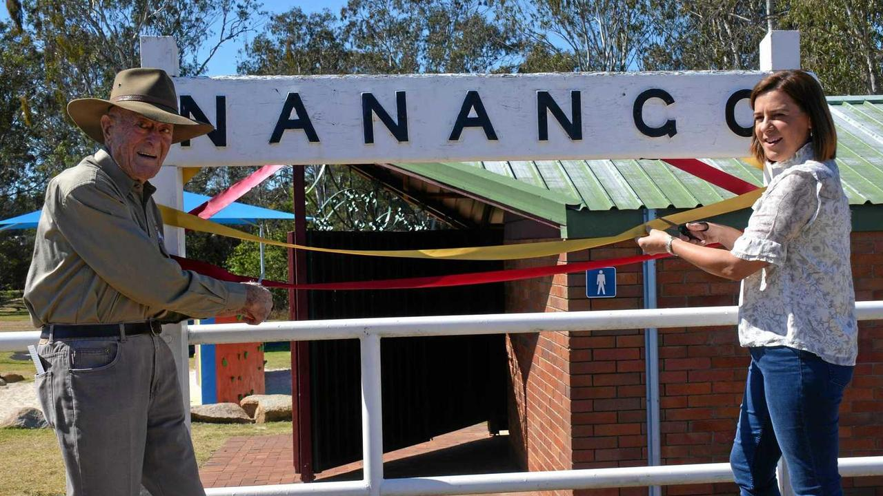 Reg McCallun with Deb Frecklington open what was the missing link of the South Burnett Rail Trail between Yarraman and Kingaroy. (Photo: Madeline Grace)