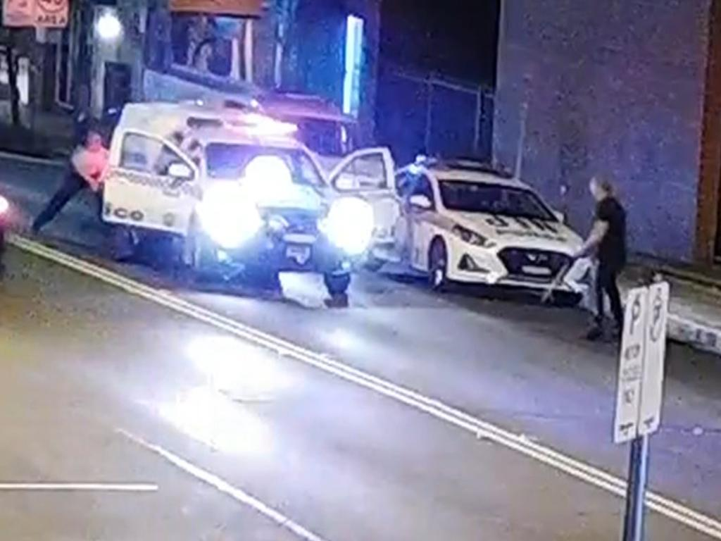 King seen on video in a stand off with officers outside Penrith Police Station. Picture: 7 News