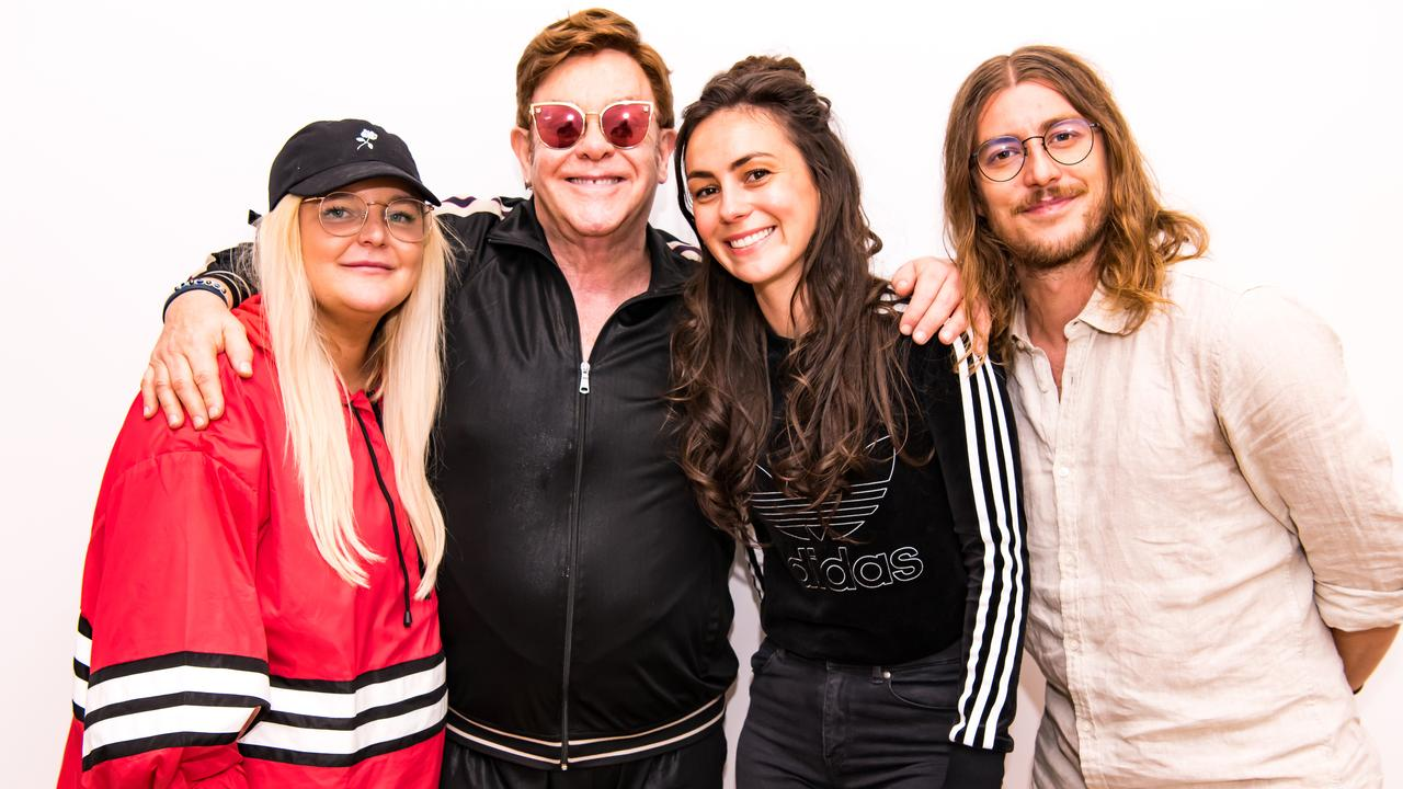 Elton John meets Tones And I, Amy Shark and Winston Surfshirt on Apple Music's Rocket Hour. Picture: Ben Gibson