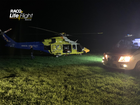 The RACQ LifeFlight helicopter on the scene of the incident.