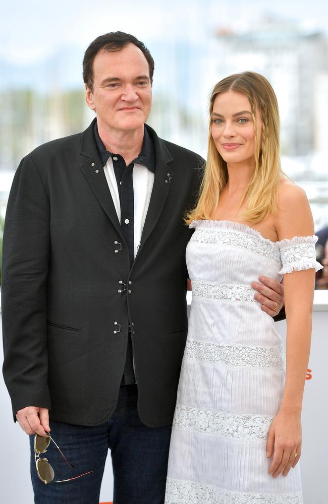 Quentin Tarantino and Margot Robbie at Cannes. Picture: Getty Images