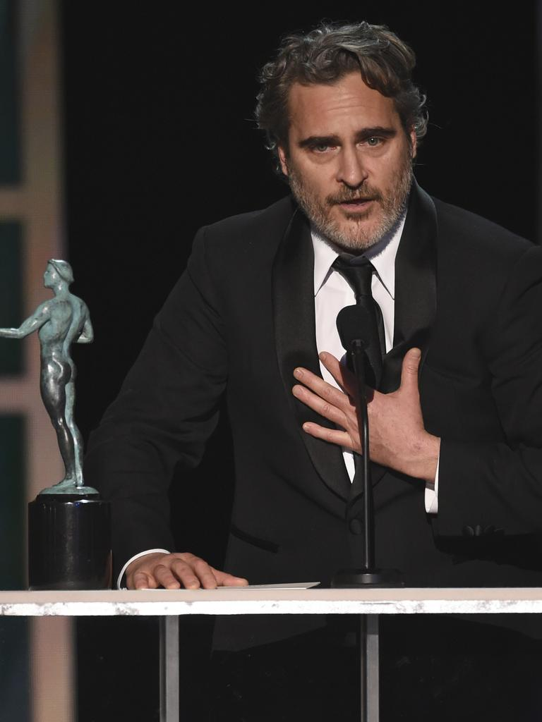 Joaquin Phoenix accepts the Best Actor award for Joker at the 26th annual Screen Actors Guild Awards. Picture: Chris Pizzello