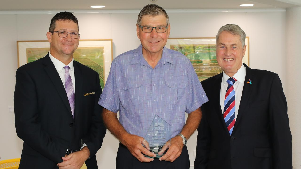 Warren Zunker, centre, is congratulated on his retirement from Mackay Regional Council by director of engineering and commercial infrastructure Jason Devitt, left, and Mayor Greg Williamson. Picture Contributed