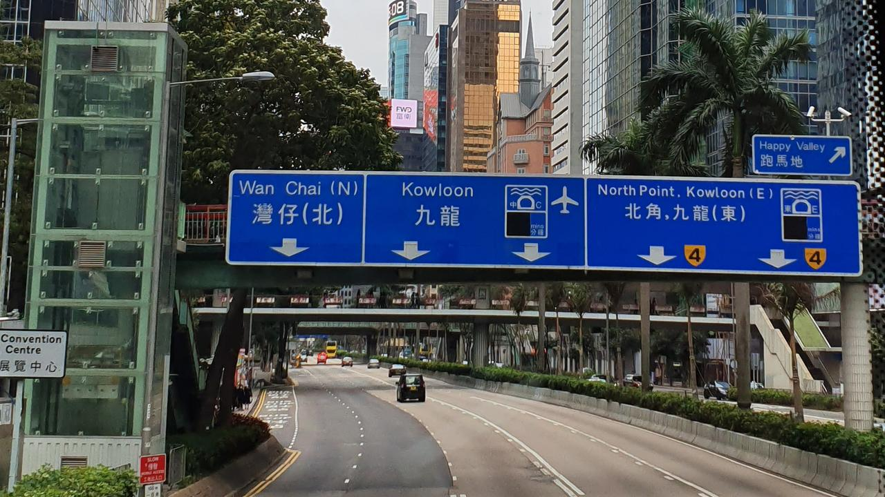 Roads are almost empty of motorists in Hong Kong as people stay indoors to avoid contact with sick people. Picture: Jayde Hopkins