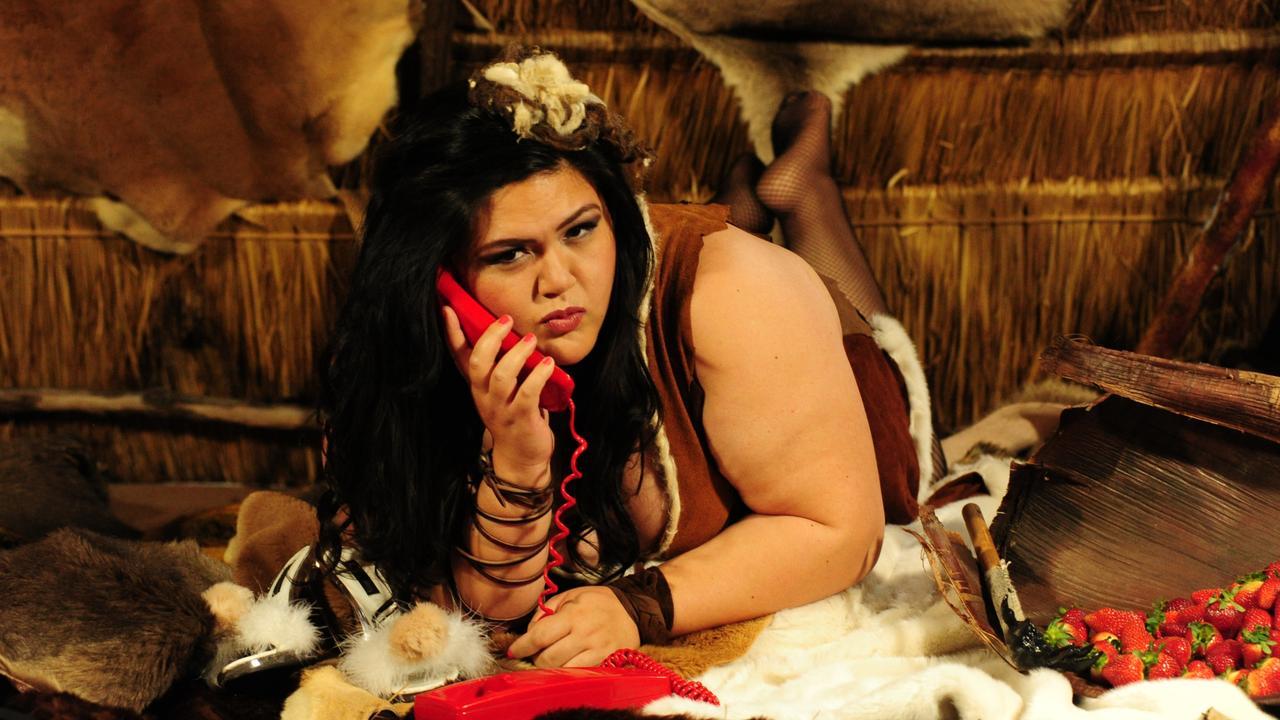 Nakkiah Lui in a scene from Black Comedy.