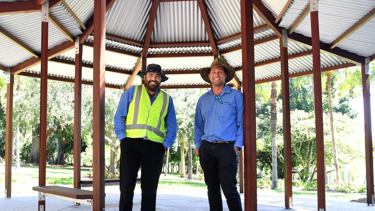 DAY OUT: Josh Gibbins, supervisor for facilities and maintenance, and Michael Elgey, curator of Kershaw and Rockhampton Botanic Gardens, put the finishing touches on the Finch House ahead of this weekend's festivities. Picture: Jann Houley