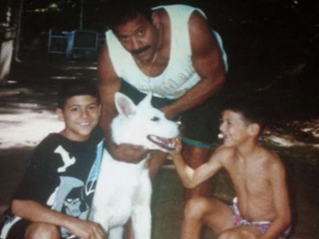 Aaron Hernandez, right, with brother, Jonathan and dad, Dennis Hernandez. Picture: Netflix