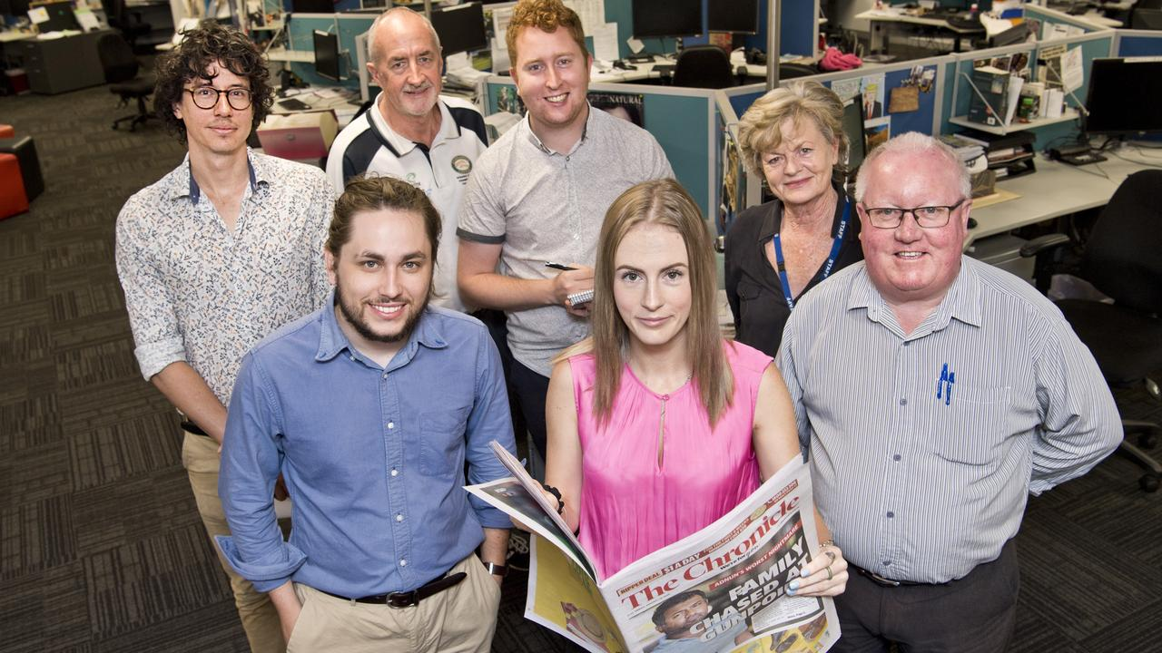 CHANGES AHEAD: Excited about The Chronicle's new 350mm format are editorial team members (back, from left) Matthew Newton, Glen McCullough, Tobi Loftus and Bev Lacey and (front, from left) Will Hunter and Cassandra Glover. Photo: Nev Madsen.