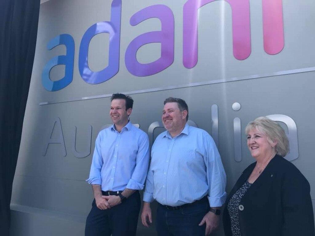 Resources Minister Matt Canavan, Adani Mining chief executive Lucas Dow, Capricornia MP Michelle Landry at the opening of Adani's new Rockhampton office.