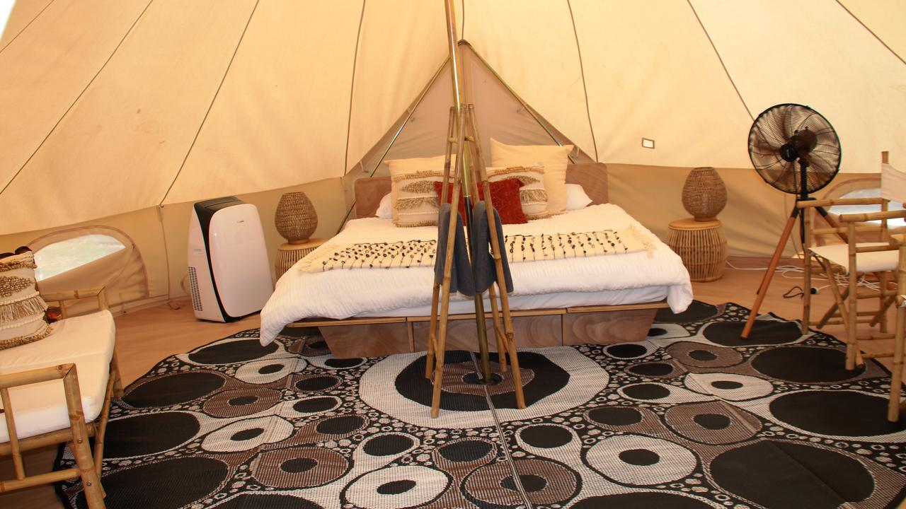 The Hideaway Cabarita Beach. The tents are more like a bohemian boudoir. Picture: Shirley Sinclair