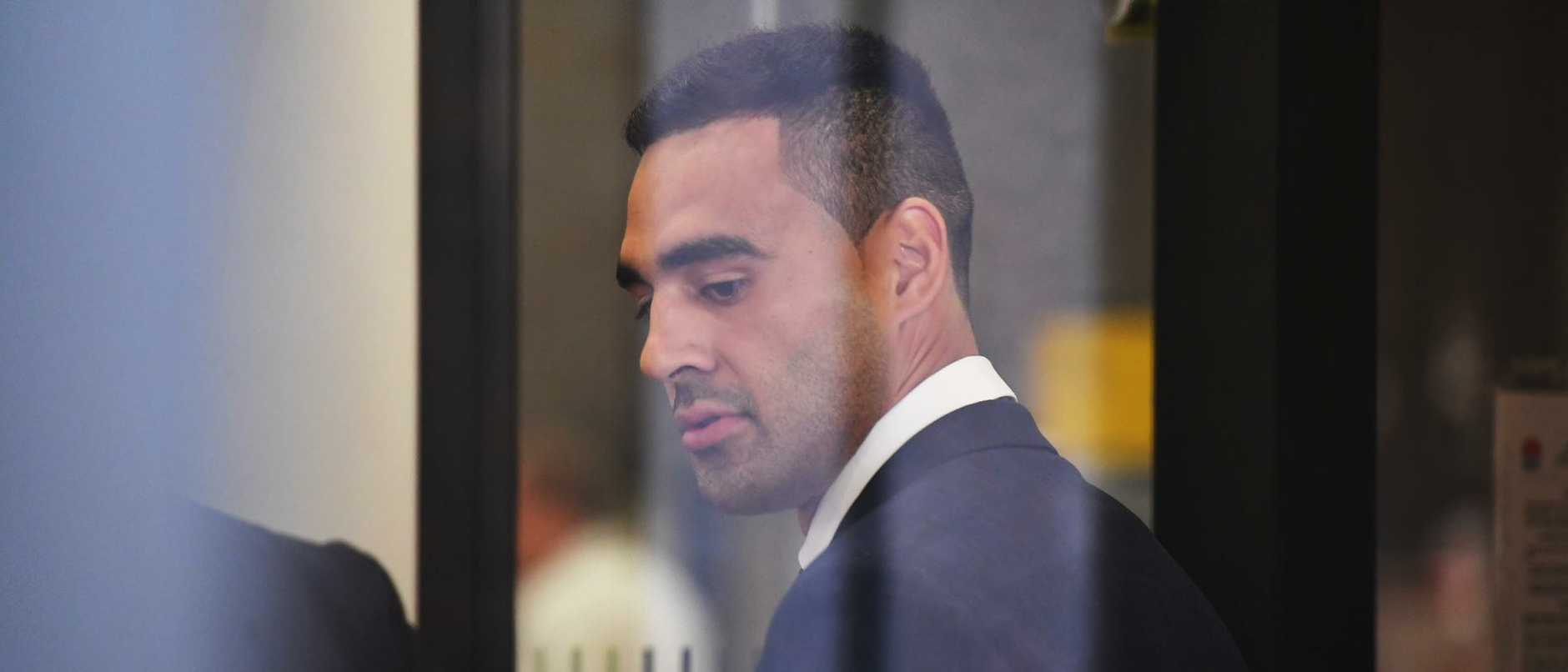 Penrith Panthers player Tyrone May arrives at the Parramatta Local Court in Sydney. (AAP Image/Peter Rae)