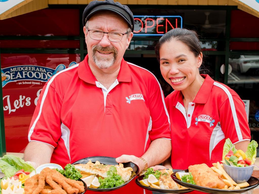Peter & Peisie Hawkes from Mudgeeraba Seafoods on School Street.