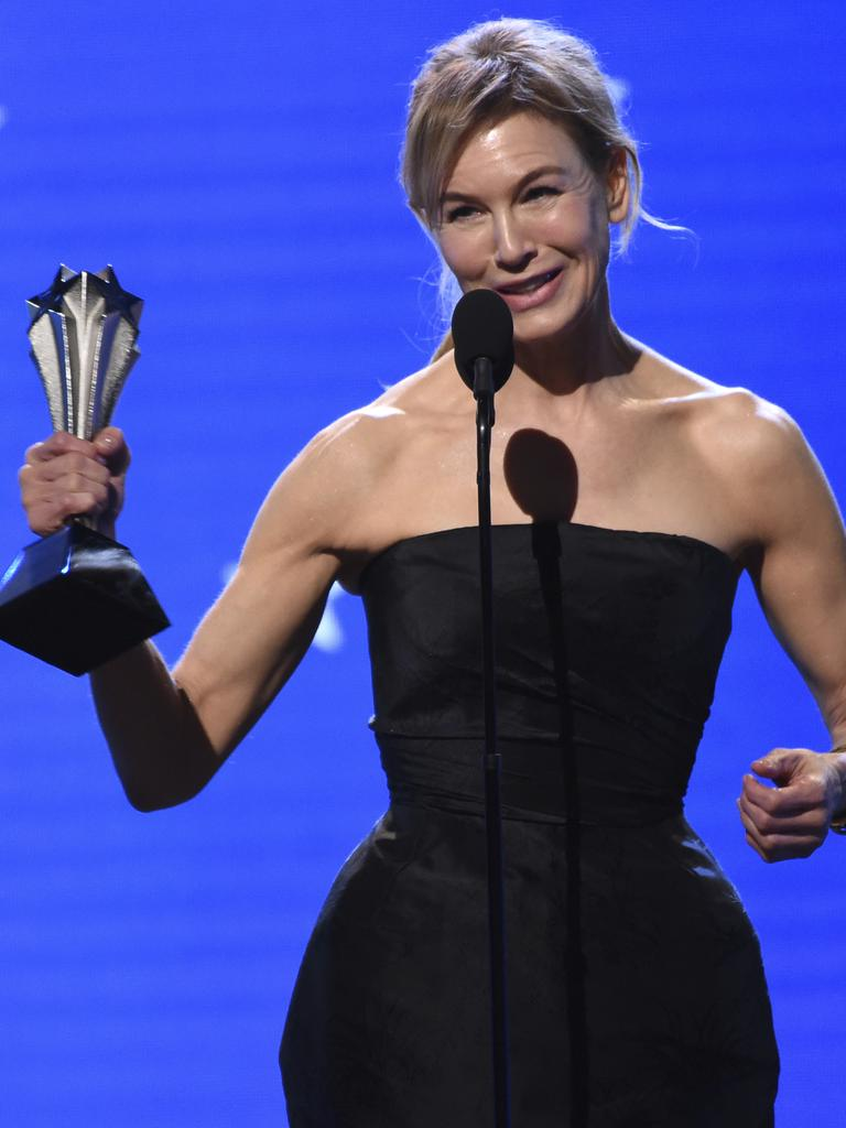 Renée Zellweger accepts the Best Actress award for Judy at the 25th annual Critics' Choice Awards. Picture: AP/Chris Pizzello
