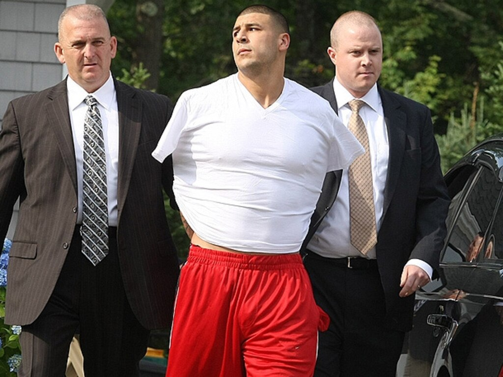 Aaron Hernandez is arrested for the murder of Odin Lloyd. Picture: YouTube